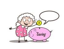Donante de la abuelita de la historieta extremidades en el ejemplo del vector del dinero del ahorro libre illustration