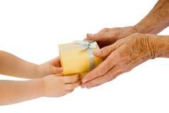Donante de las manos Imagen de archivo