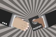 Donante de un pasaporte en el aeropuerto ilustración del vector