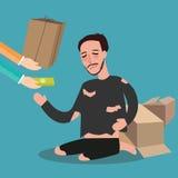 Donante del dinero a la compasión viva sin hogar pobre del concepto del zakat del mendigo del tablero de tarjeta en Islam libre illustration