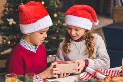 Donante del niño pequeño presente a la hermana imagen de archivo