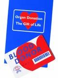 Donante Info del órgano y de sangre. Imágenes de archivo libres de regalías