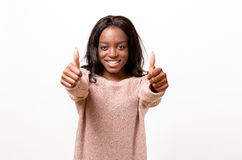 Donante motivado entusiasta de la mujer pulgares para arriba Foto de archivo libre de regalías