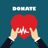 Donate器官,在手标志的心脏,在红颜色传染媒介的心脏象的概念 库存图片