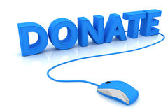 Donate. And computer mouse. 3D render Royalty Free Stock Photography