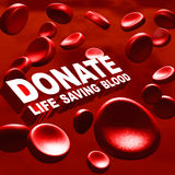 Donate blood. Blood donating concept with words donate life saving blood text in red blood cells macro in 3d Stock Image