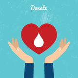 Donate blood bag on blue background. Royalty Free Stock Photo