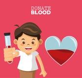 Donate blood boy test tube Stock Photography