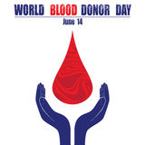 Donate blood concept with abstract blood drop for World blood donor day June 14 vector illustration.  Stock Photos