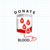 Donate blood  concept with bag blood and drop blood type Royalty Free Stock Images