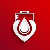 Donate blood  concept design on red background. Sample Royalty Free Stock Photo