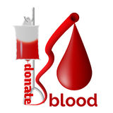 Donate blood. Blood donation concept with blood drop Royalty Free Illustration