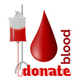 Donate blood. Blood donation concept with blood drop and bag of blood Royalty Free Stock Photo