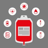 Donate blood donor service plastic bag red icons. Vector illustration vector illustration Stock Photography
