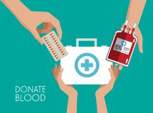 Donate blood campaign. Donate blood first aids suitcase and elements vector illustration graphic design Royalty Free Stock Photo