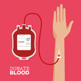 Donate blood hand with tube. Illustration eps 10 Royalty Free Stock Images