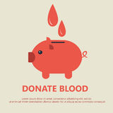 Donate blood. Illustration Concept Flat Medical Icons of Piggy Bank as Blood Donation - Vector Stock Images