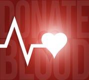 Donate blood lifeline heart illustration Stock Image