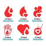 Donate blood logo set Stock Photos