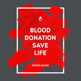 Donate blood motivation information poster. Royalty Free Stock Images