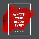Donate blood motivation information poster. Creative Donate blood motivation information donor poster. Blood Donation. World Blood Donor Day banner. Red stroke Stock Images