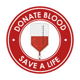 Donate blood save a life badge Royalty Free Stock Images