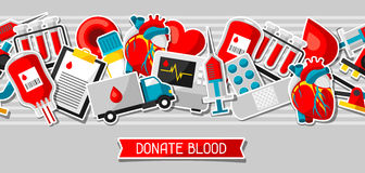 Donate blood. Seamless pattern with blood donation items. Medical and health care sticker objects Stock Photos