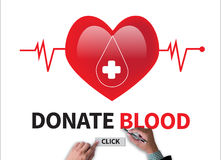 DONATE BLOOD ( transfusion medicine specialist holding sign dona. Te blood, red heart health care professional doctor ) businessman work on white broad, top view Stock Photos