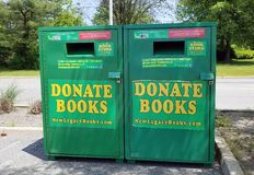 Donate Books Drop Box. Books in good readable condition with ISBN code will be accepted as donation from the public royalty free stock photo