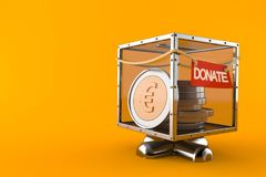 Donate box with euro currency. Isolated on orange background. 3d illustration Stock Photography