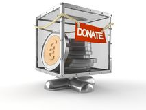 Donate box with euro currency. Isolated on white background Stock Images