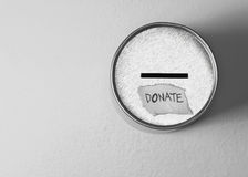 Donate box on gray. Donate box over gray background Royalty Free Stock Image