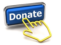 Free Donate Button And Hand Cursor Stock Image - 18971531