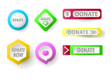 Donate button collection. Set of web buttons for charity Royalty Free Stock Image
