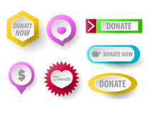 Donate button collection. Set of web buttons for charity. Donate. icons donation gift charity, money giving. Modern UI donate buttons  on white background Royalty Free Stock Image
