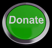 Donate Button In Green Showing Charity. Donate Button Green Showing Charity And Fundraising Stock Images