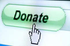 Donate button and hand cursor. Donate button screenshot with a white cursor Stock Image