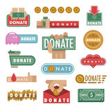 Donate buttons vector illustration help icon donation contribution charity philanthropy hands symbols and website gift Stock Photo