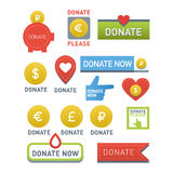 Donate buttons vector set. Stock Photos