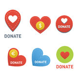 Donate buttons vector set. Royalty Free Stock Photography