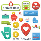 Donate buttons vector set illustration help icon donation gift charity isolated support design sign contribute Royalty Free Stock Image