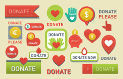 Donate buttons vector set illustration help icon donation gift charity isolated support design sign contribute Stock Photo