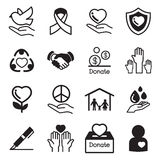 Donate and Charity basic icons Stock Image