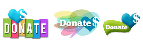 Donate Colorful Set Stock Photos