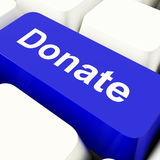 Donate Computer Key In Blue Showing Charity Stock Photos