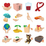 Donate given cartoon icons set Stock Image