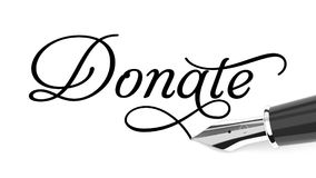 Donate card. Donate handwritten with fountain pen Royalty Free Stock Images