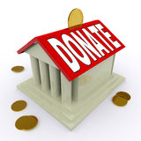 Donate On House Or Money Box Means Give Stock Photo