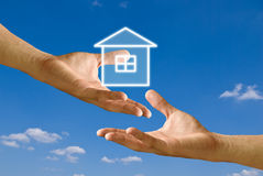 Donate house for sufferer. House donation concept Royalty Free Stock Photography