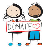 Donate. Illustration of children holding donate sign